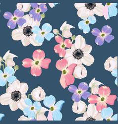 hellebore anemone seamless pattern vector image