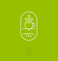 Herbal tea logo cup leaves flat linear vector