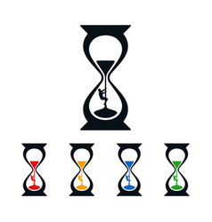 hourglass and climber icons vector image