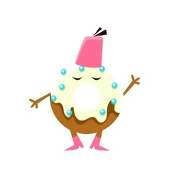 Humanized Doughnut With White Glazing Wering Fez vector