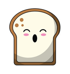 Kawaii slice bread bakery vector