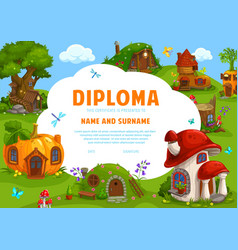 Kids diploma certificate fairy tale dwarf houses vector