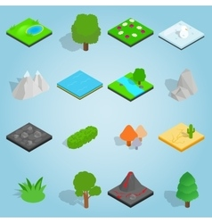 Landscape set icons isometric 3d style vector image