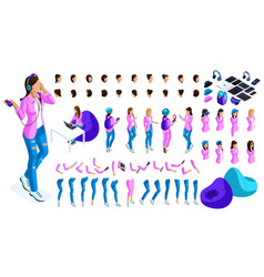 Large isometric set for creation teenager vector