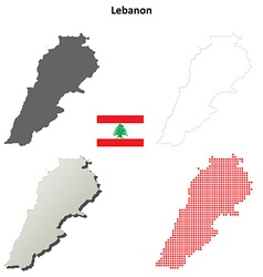 Lebanon outline map set vector image