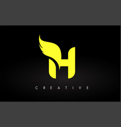 Letter h logo with yellow colors and wing design vector