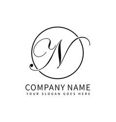 Letter n script initial luxury logo design vector