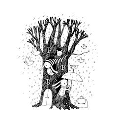 Magic Tree rabbits and birdsAnimals of the vector image