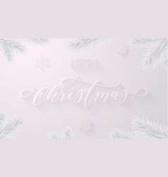 merry christmas frozen ice hand drawn calligraphy vector image