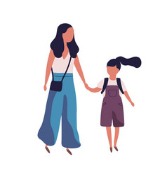 mother leading her daughter to school portrait of vector image