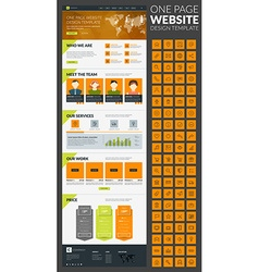 One page website template in flat style with icon vector image