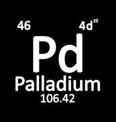 Periodic table element palladium icon vector