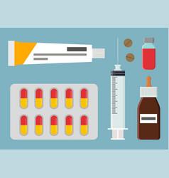 Pharmacy medical items set vector