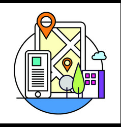 phone location based map icon vector image