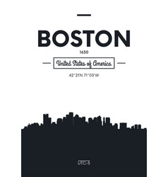Poster city skyline boston flat style vector