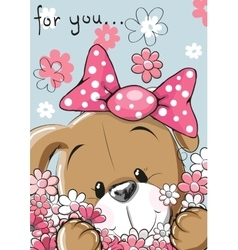 Puppy with flower vector