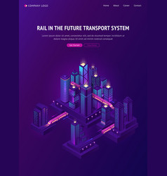 Rail train in future city transport system vector
