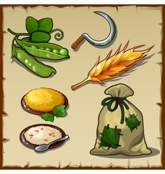 Rich harvest sickle pea simple food and bag vector