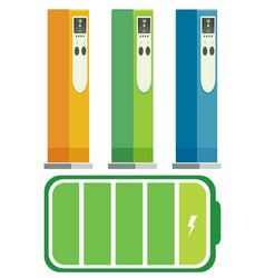 set of electric car charging stations vector image