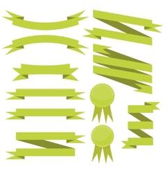 Set of flat green ribbons vector