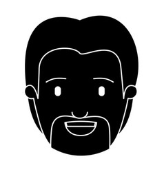 Silhouette black front view face man with beard vector