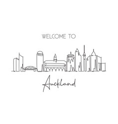 Single continuous line drawing auckland skyline vector