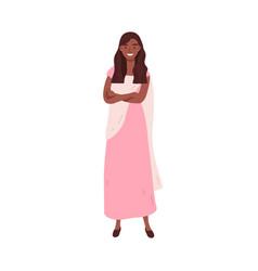 smiling dark skin woman in traditional elegant vector image