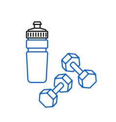 sports water bottle and dumbbells icon on white vector image