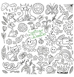 Spring doodles collection vector