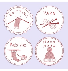 Stock set badges of knitting needles sock scarf vector