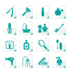 Stylized body care and cosmetics icons vector