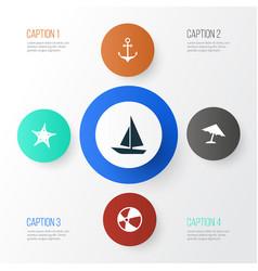 sun icons set collection of ship balloon vector image
