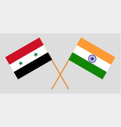 syria and india syrian and indian flags vector image