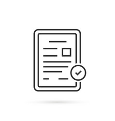 Thin line digital tablet with document vector