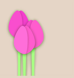 three paper cut tulips on beige background vector image