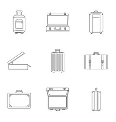 travel suitcase icon set outline style vector image