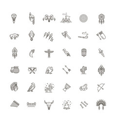 tribal outline icon set vector image