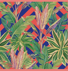 tropical leaves seamless pattern coral blue vector image