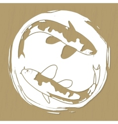 Two koi carps laser or plotter cut vector