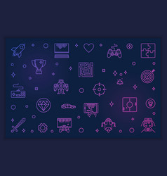 Video games outline colored vector