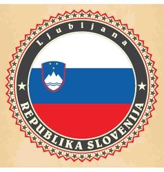 vintage label cards slovenia flag vector image