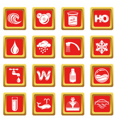 water icons set red square vector image