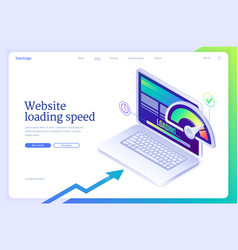Website loading speed isometric landing page vector