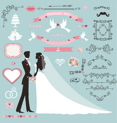 wedding invitation decor set with coupleswirling vector image