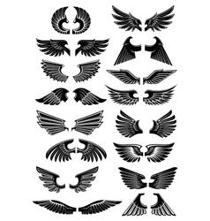 Wings heraldic icons symbols vector