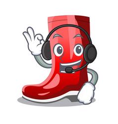 With headphone muddy farmer boots shape the vector