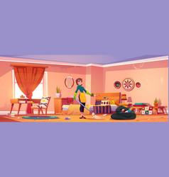 Woman clean bedroom in bohemian style messy room vector