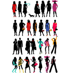 Women fashion silhouette vector