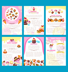bakery sweet desserts brochure or posters vector image vector image