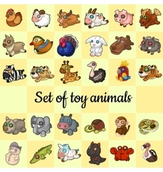 Big set of soft toy animals 30 different icons vector image
